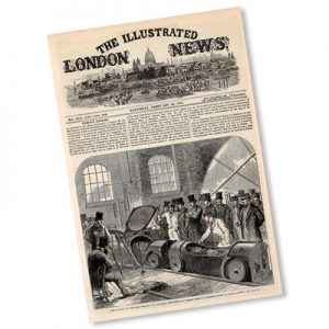 The third Duke of Buckingham and Chandos (central, with beard) watches mail bags first sent from Eversholt Street to Euston on 20 February 1863 by the London Pneumatic Despatch Company of which he was chairman. (Illustrated London News, February 28 1863, p.213) https://archive.org/details/illustratedlondov42lond/page/n221